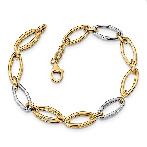 14ct Two tone Polished Fancy Link Bracelet Jewelry Gifts for Women - 20 Centimeters from JewelryWeb