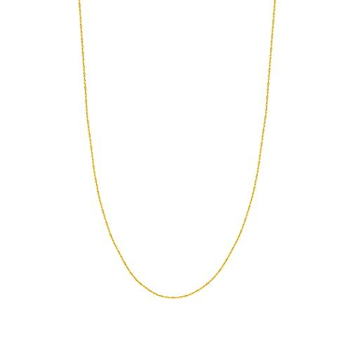 14ct Yellow Gold 1mm Singapore Chain Necklace Spring Ring Closure - 51 Centimeters from JewelryWeb
