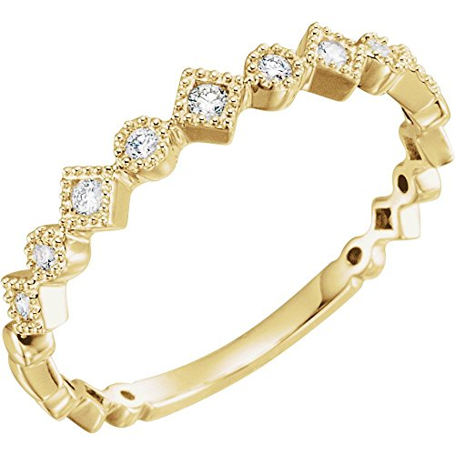14ct Yellow Gold Size M 1/2 Polished 0.13 Dwt Diamond Anniversary Band Ring Jewelry Gifts for Women from JewelryWeb
