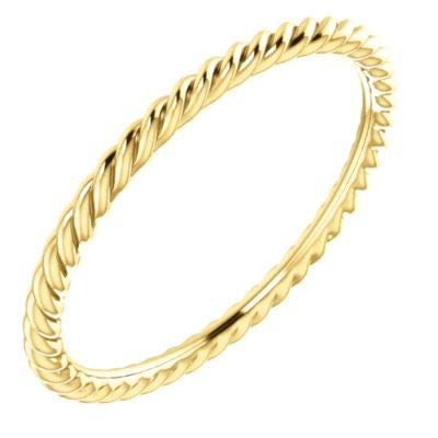 14ct Yellow Gold Size N 1/2 Polished Skinny Rope Band Ring Jewelry Gifts for Women from JewelryWeb
