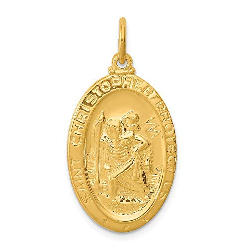 24ct Gold-Flashed Sterling Silver Solid Polished back Engravable (back only) Saint Christopher Pendant from JewelryWeb