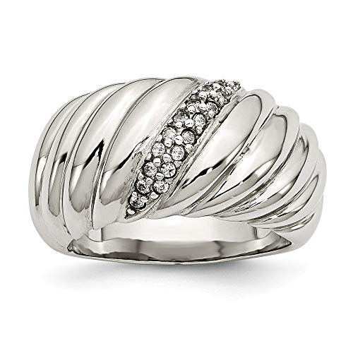 JewelryWeb Stainless Steel Polished Cubic Zirconia Ring - Size P 1/2 from JewelryWeb
