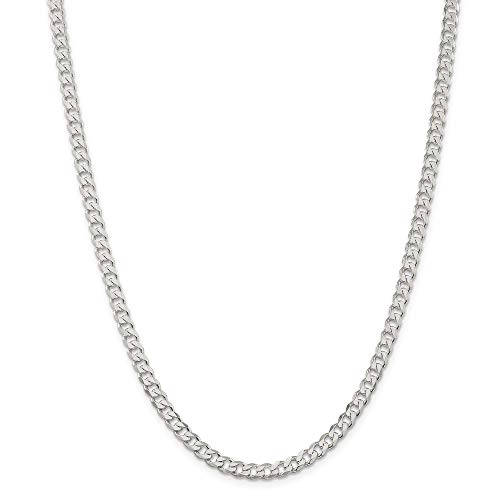 925 Sterling Silver 4.5mm Curb Chain Necklace Jewelry Gifts for Women - 76 Centimeters from JewelryWeb