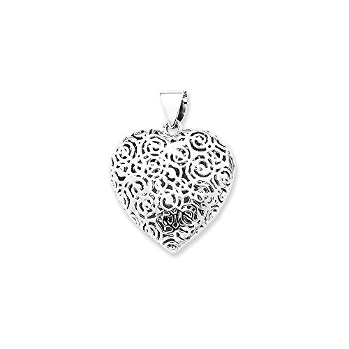 Sterling Silver Hollow Polished Puffed Heart Pendant from JewelryWeb