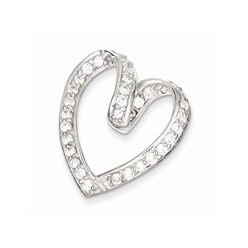 Sterling Silver Polished With Cubic Zirconia Pendant from JewelryWeb