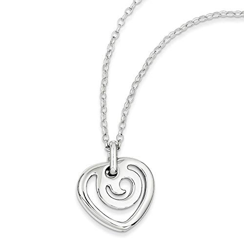 925 Sterling Silver Fancy Lobster Closure Polished Love Heart Pendant Necklace Jewelry Gifts for Women - 41 Centimeters from JewelryWeb