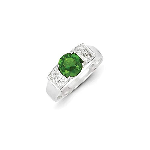 Sterling Silver Lime Green Round With Pave Sides Cubic Zirconia Ring - Size P 1/2 from JewelryWeb