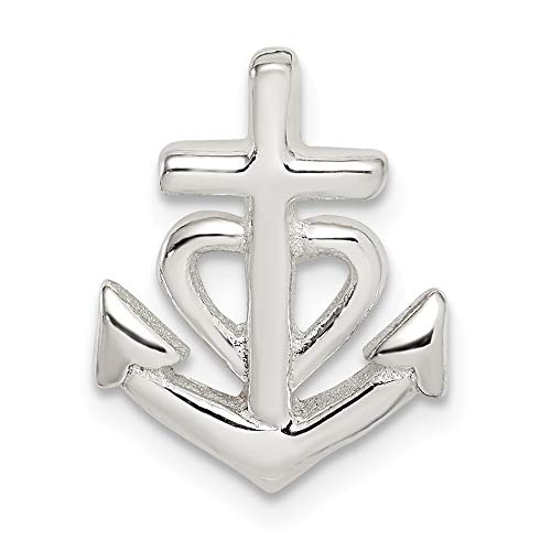 925 Sterling Silver Polished Nautical Ship Mariner Anchor Pendant Necklace Jewelry Gifts for Women from JewelryWeb