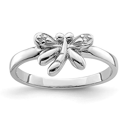925 Sterling Silver Rhodium-plated for boys or girls Cubic Zirconia Dragonfly Ring - Size H from JewelryWeb