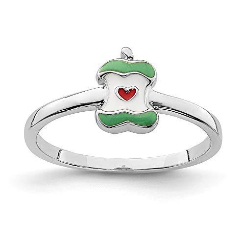 925 Sterling Silver Rhodium-plated for boys or girls Enameled Apple Core Ring - Size H from JewelryWeb