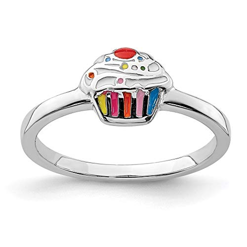 925 Sterling Silver Rhodium-plated for boys or girls Enameled Cupcake Ring - Size H from JewelryWeb
