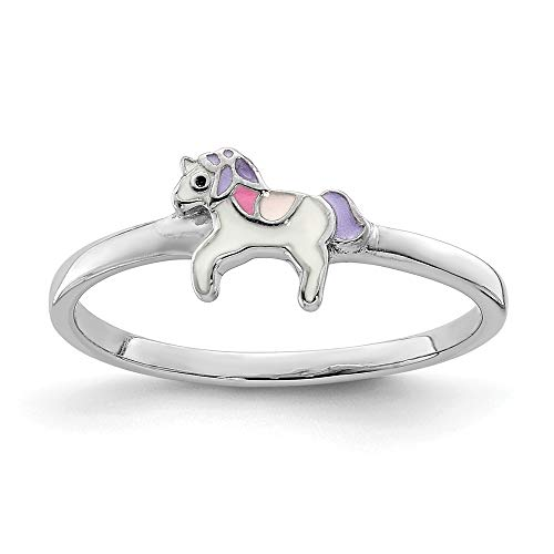 925 Sterling Silver Rhodium-plated for boys or girls Enameled Unicorn Ring - Size F from JewelryWeb