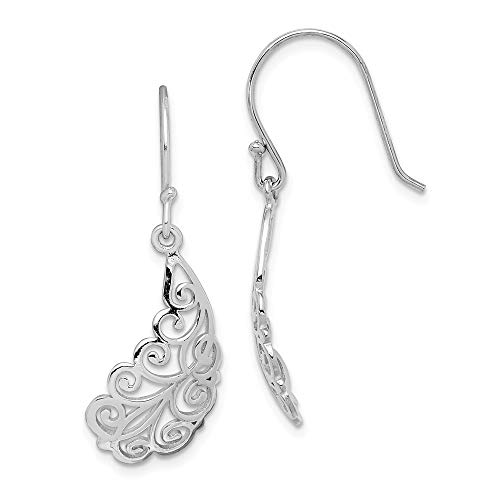 Sterling Silver Rhodium-plated Filigree Leaf Dangle Earrings from JewelryWeb