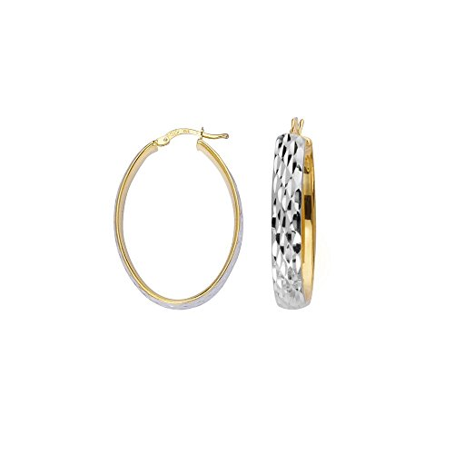 Sterling Silver Yellow and Rhodium Plated 6mm Oval Hoop Earrings Full Sparkle-Cut from JewelryWeb