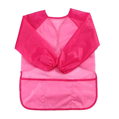 Fashion Waterproof Long Sleeve Baby Toddler Painting Feeding Smock Bib Apron - Pink from Jiacheng29