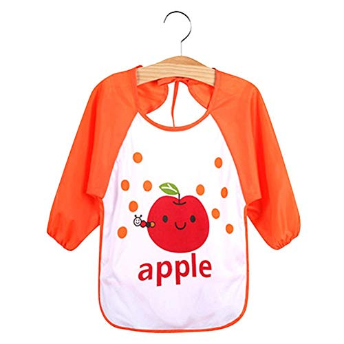Kids Cartoon Cute Baby Toddler Waterproof Long Sleeve Bibs Feeding Smock Apron - Apple from Jiacheng29