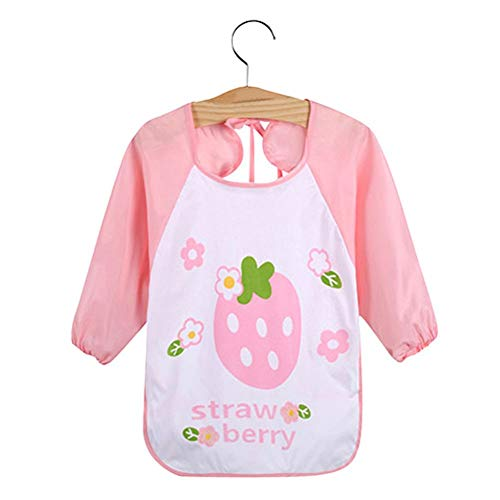 Kids Cartoon Cute Baby Toddler Waterproof Long Sleeve Bibs Feeding Smock Apron - Blueberry from Jiacheng29