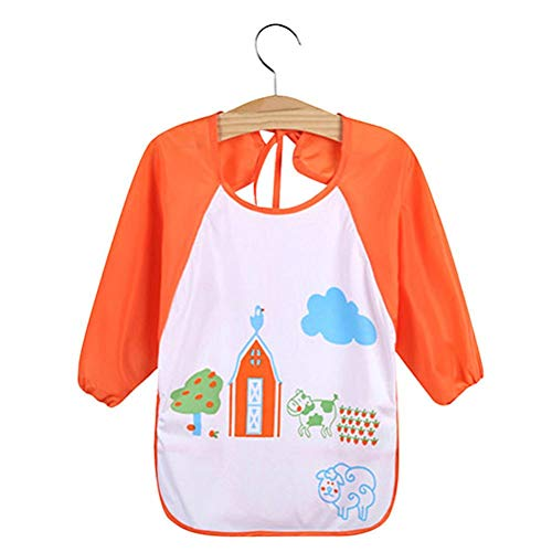 Kids Cartoon Cute Baby Toddler Waterproof Long Sleeve Bibs Feeding Smock Apron - Cow from Jiacheng29