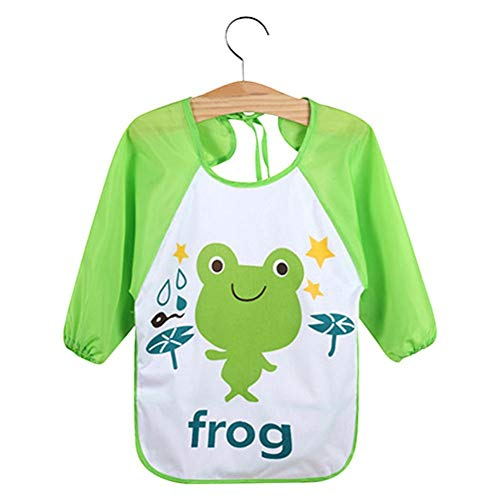 Kids Cartoon Cute Baby Toddler Waterproof Long Sleeve Bibs Feeding Smock Apron - Frog from Jiacheng29