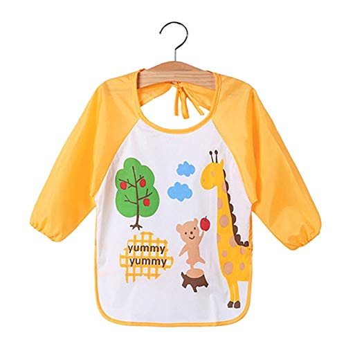 Kids Cartoon Cute Baby Toddler Waterproof Long Sleeve Bibs Feeding Smock Apron - Giraffe from Jiacheng29