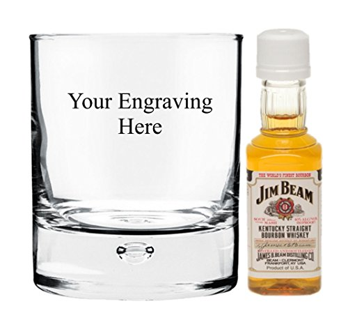 Personalised Engraved 8 oz Bubble in the base heavy glass, with 50ml Miniature Jim Beam in Board Gift box from Jim Beam