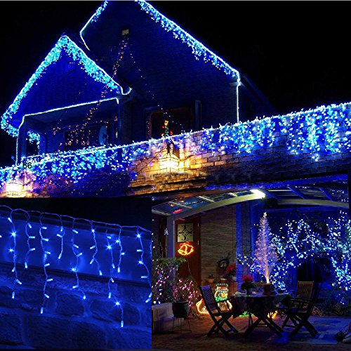 JnDeeTM Icicle Christmas Fairy Lights Waterproof Outdoor/Indoor use. Blue 120 LED 4M Wide Plus a Massive 10M Lead Cable, 8 Modes, Low Safe Voltage White Cable (Blue, 120LED 4M) from JnDee