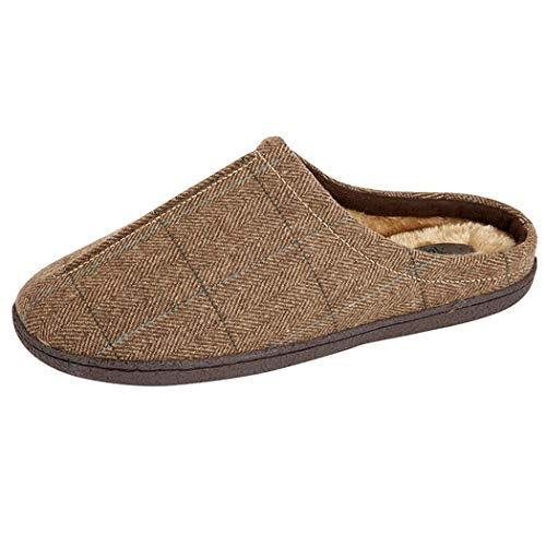 1017add81d9 Jo   Joe New Mens Slip On Mules Tweed Fair Isles Nordic Knitted Warm Faux  Fur