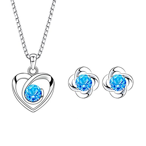 Jösva Silver Jewellery Sets for Women, 925 Sterling Silver Heart Pendant Necklace with 45cm Chain & Small Clover Stud Earrings with 5A Cubic Zirconia, Hypoallergenic, Gift for Mother's Day from Jösva
