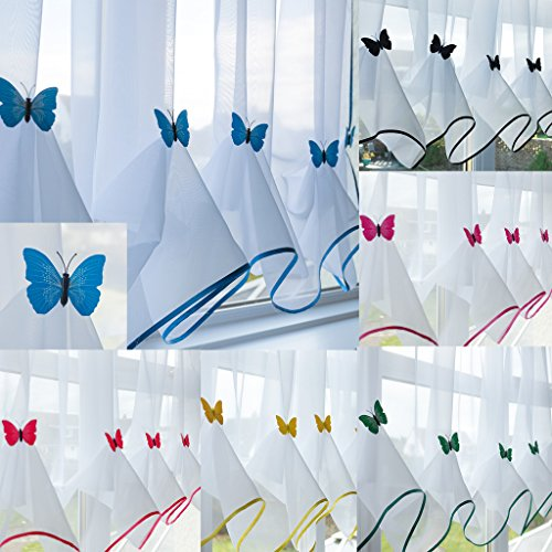 "John Aird Butterfly Voile Curtain With Matching Piping (Blue, 114"" Wide x 47"" Drop) from John Aird"
