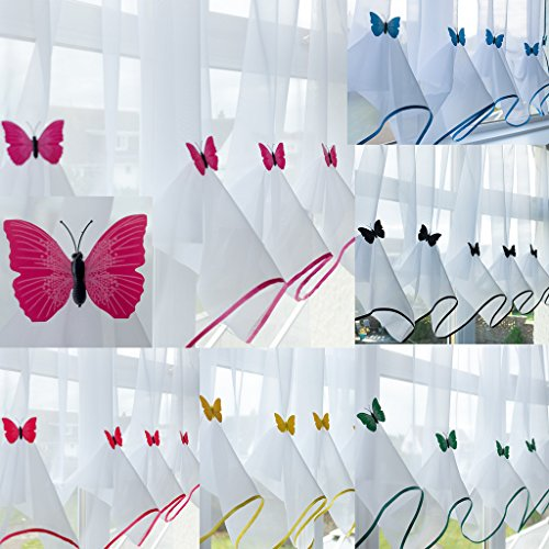 "John Aird Butterfly Voile Curtain With Matching Piping (Fuchsia, 114"" Wide x 39"" Drop) from John Aird"