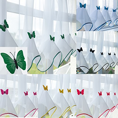 "John Aird Butterfly Voile Curtain With Matching Piping (Green, 55"" Wide x 39"" Drop) from John Aird"