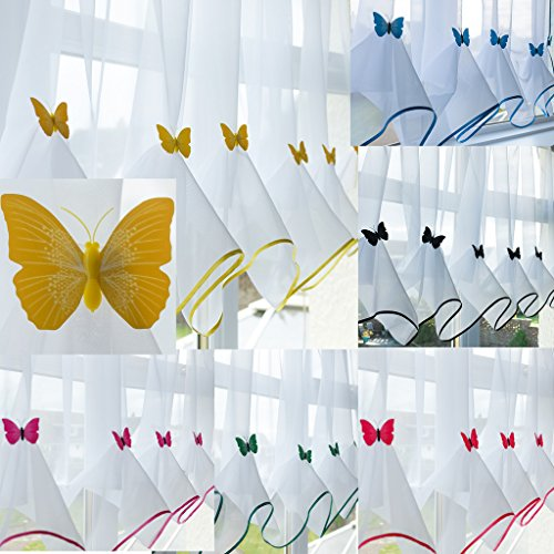 "John Aird Butterfly Voile Curtain With Matching Piping (Yellow, 55"" Wide x 47"" Drop) from John Aird"