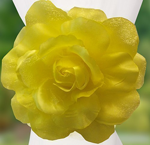 John Aird Clip-On Rose Flower Tie Backs/Holdbacks 10 Colours Available For Voile & Net Curtain Panels (Yellow) from John Aird