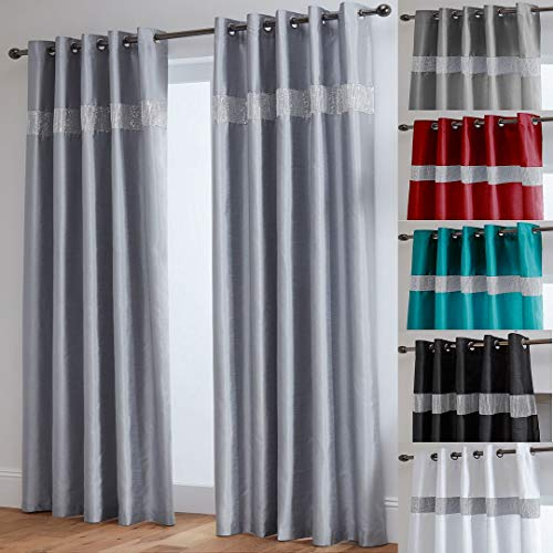 "John Aird Diamante Fully Lined Faux Silk Eyelet Curtains (Silver, 90"" Wide x 90"" Drop) from John Aird"