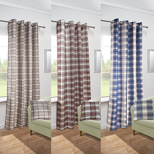 "John Aird Isla Woven Tartan Check Eyelet Curtain Panel (Red, 56"" Wide x 72"" Drop) from John Aird"