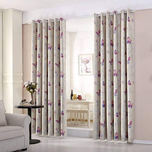 "John Aird Butterfly Thermal Blackout Eyelet Curtains (Natural, 46"" Width x 72"" Drop) from John Aird"