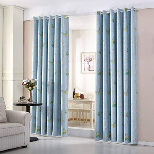 "John Aird Butterly Thermal Blackout Eyelet Curtains (Blue, Single Cushion Cover 18"" x 18"") from John Aird"
