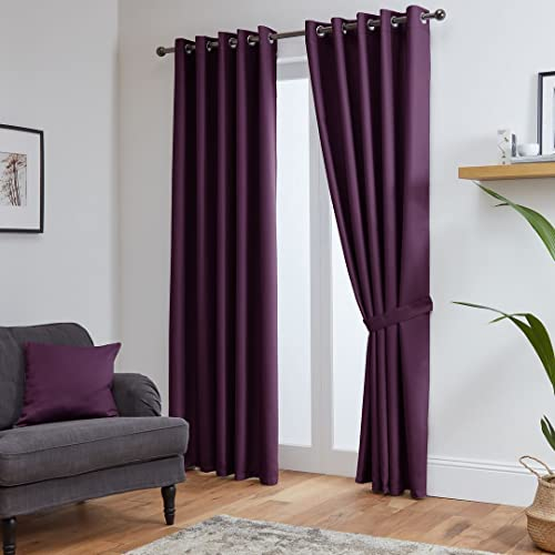 "John Aird Eyelet Thermal Energy Saving Blackout Curtains + Free Tie Backs (Aubergine, 168cm Width x 183cm Drop (66""x72"") from John Aird"