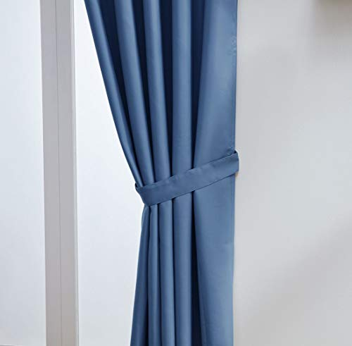 "John Aird Eyelet Thermal Energy Saving Blackout Curtains + Free Tie Backs (Blue, 229cm Width x 137cm Drop (90""x 54"") from John Aird"