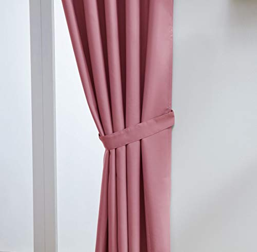 "John Aird Eyelet Thermal Energy Saving Blackout Curtains + Free Tie Backs (Pink, 168cm Width x 137cm Drop (66""x 54"") from John Aird"