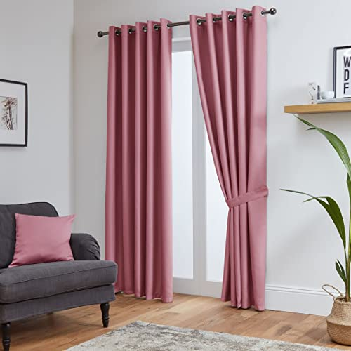 "John Aird Eyelet Thermal Energy Saving Blackout Curtains + Free Tie Backs (Pink, 229cm Width x 229cm Drop (90""x 90"") from John Aird"