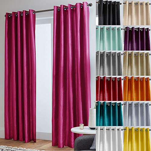 "John Aird Faux Silk Fully Lined Eyelet Curtains (Fuchsia, 168cm Width x 183cm Drop (66""x72"") from John Aird"