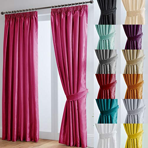 "John Aird Faux Silk Fully Lined Pencil Pleat Curtains With Matching Tie Backs (Fuchsia, 229cm Width x 137cm Drop (90""x 54"") from John Aird"