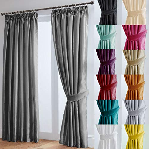 "John Aird Faux Silk Fully Lined Pencil Pleat Curtains With Matching Tie Backs (Grey, 229cm Width x 229cm Drop (90""x 90"") from John Aird"