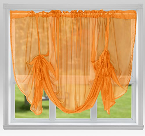 "John Aird Voile Tie Blind Curtain Panels 87"" Wide x 54"" Drop (Orange) from John Aird"