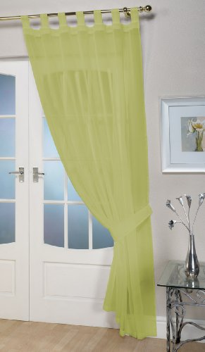 "John Aird Woven Voile Tab Top Curtain Panel - Free Tieback Included (Lime, 60"" Wide x 81"" Drop) from John Aird"