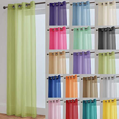 "John Aird Lucy Lime Woven Voile Eyelet Top Curtain Panel (58"" Wide x 72"" Drop) from John Aird"