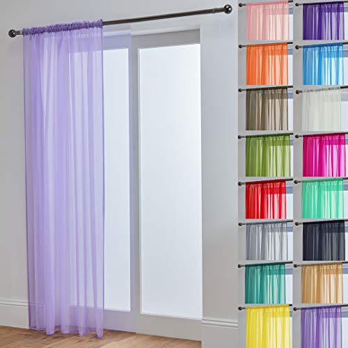 "John Aird Lucy Woven Voile Slot Top Curtain Panels (Lilac, 58"" Wide x 118"" Drop) from John Aird"