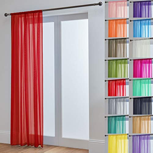 "John Aird Lucy Woven Voile Slot Top Curtain Panels (Red, 58"" Wide x 54"" Drop) from John Aird"