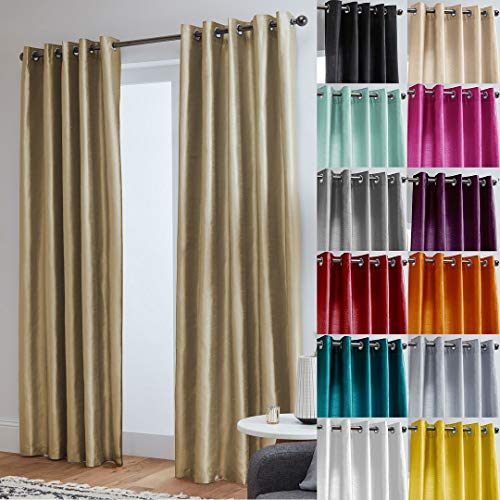 "John Aird Faux Silk Fully Lined Eyelet Curtains (Latte, 229cm Width x 274cm Drop (90""x 108"") from John Aird"